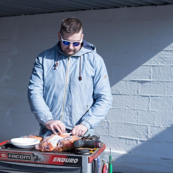 Anton setting up the grill.