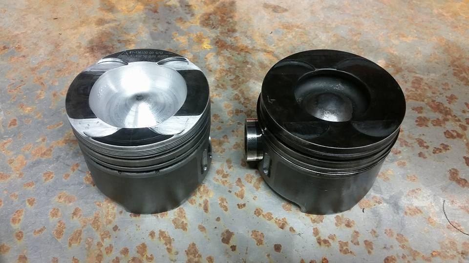 Comparison between the new and the old piston.
